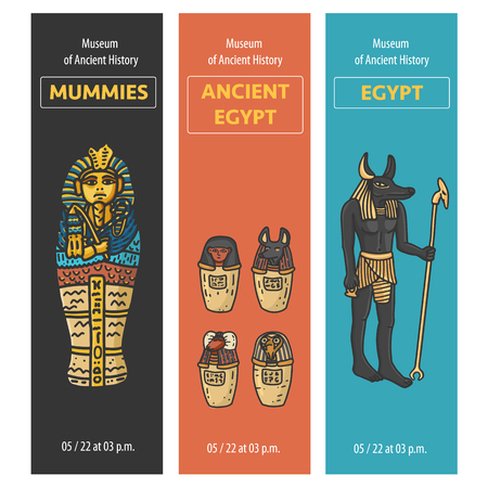 Vector set of thee bookmarks design with Ancient Egypt symbols: Tutankhamun Sarcophagus, Canopic jars (using in embalming proccess) God Anubis Statue; Hand drawn cartoonish style Illustration