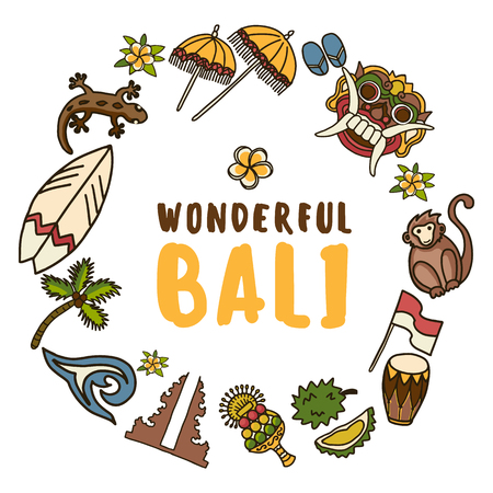 Vector icons set. Balinese traditional Temple, Barong mask, monkey, surf board, gecko, palm tree, Indonesian flag, frangipani, wave, durian. On white background with text block Wonderfiul Bali.