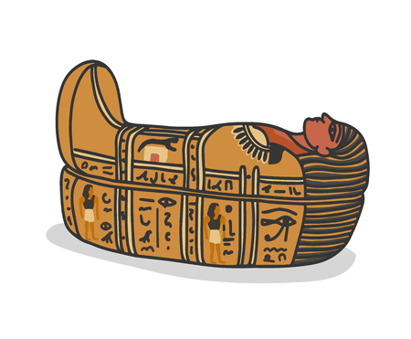 Ancient egyptian sarcophagus, tomb for pharaons mummy. Isolated vector illustration in doodle hand drawn style.