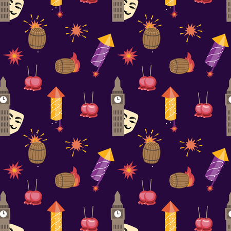 Bonfire night (Guy Fawkes day) pattern contains the following elements: House of parlament, Guy Fawkes mask, barrel of gunpowder, bonfire, firecrackers, toffee apples on the purple background
