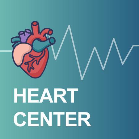 Heart Care logo. Healthcare and Medical logo concept. Vector illustration in cartoon doodle style Ilustração