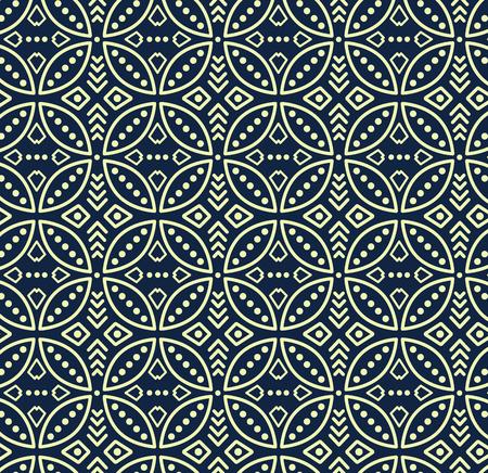 Seamless vector pattern in bali batik style on the dark navy background. Illustration