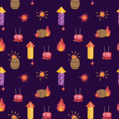 Bonfire night pattern contains the following elements: barrel of gunpowder, bonfire, firecrackers, toffee apples on the purple background Illustration