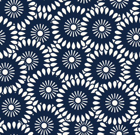 Seamless vector pattern in bali batik style on the dark navy background. Illustration