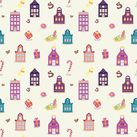 Seamless St Nicholas day pattern with cute colored holland traditional houses and shoes and candies.