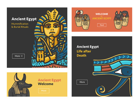 Vector set of four banner design with Ancient Egypt symbols: Tutankhamun Sarcophagus, Anubis Head, Canopic jars (using in embalming proccess); Hand drawn cartoonish style with outline Illustration