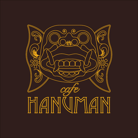 Hanuman mask of Ramayana story isolated on brown background. Line art drawn logo concept. 일러스트