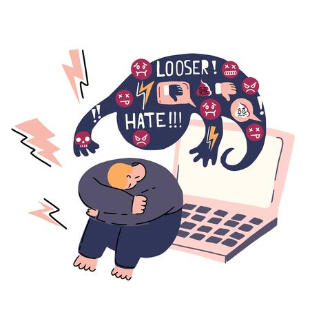 Cyber bullying, social network harassment concept. Vector illustration with sad man and laptop with insulting messages behind him. Humiliation, aggressive verbal assault. Cartoon style.