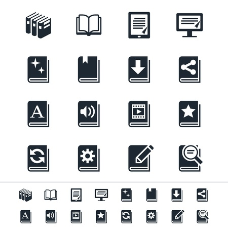 bookshelf digital: Book icons Illustration