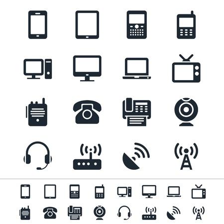 mobile headsets: Iconos de la comunicaci�n de dispositivos Vectores