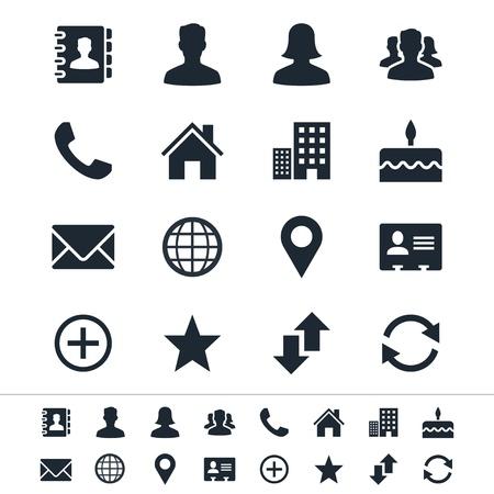 Contattare icone Vettoriali