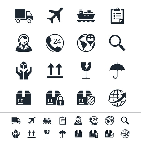 Logistics and shipping icons Ilustracja