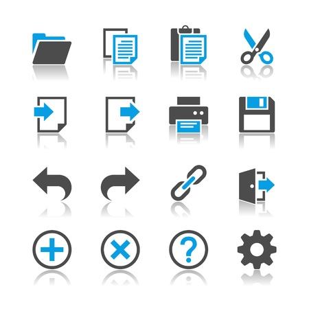 Application toolbar icons - reflection theme  イラスト・ベクター素材