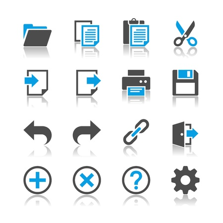 Application toolbar icons - reflection theme Vectores