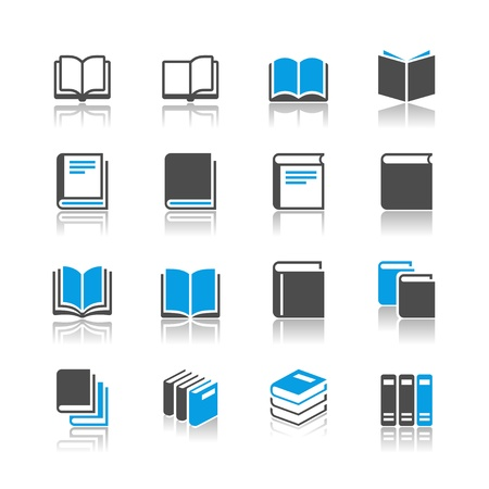 Book icons - reflection theme Vectores