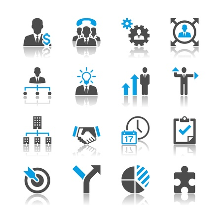 Business and management icons - reflection theme Stock Vector - 18915421