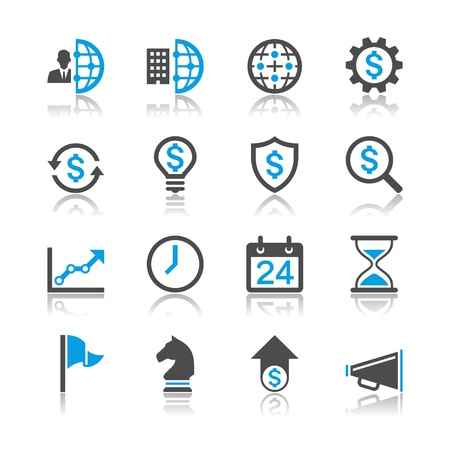 global settings: Business and management icons - reflection theme