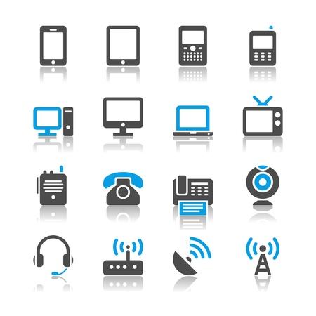 Communication device icons - reflection theme  イラスト・ベクター素材