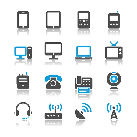 Communication device icons - reflection theme Vectores