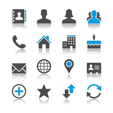 Contact iconen - reflectie thema Stock Illustratie