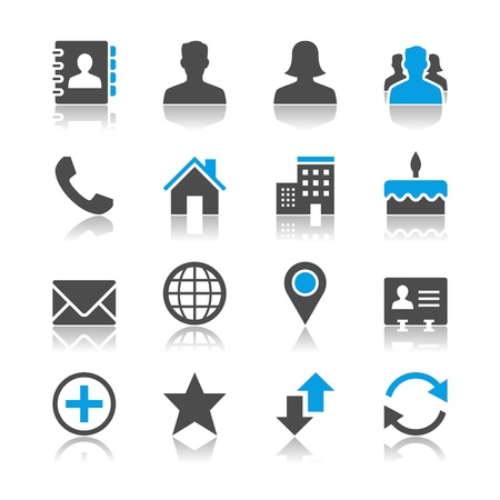 Contact icons - reflection theme Stock Vector - 18915389