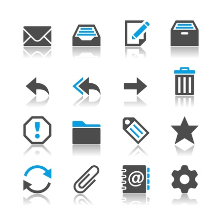Email icons - reflection theme Vectores