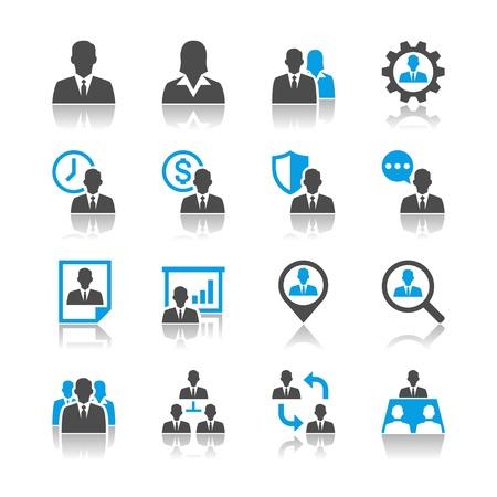Homme icônes de gestion des ressources - thème de réflexion Banque d'images - 18905601