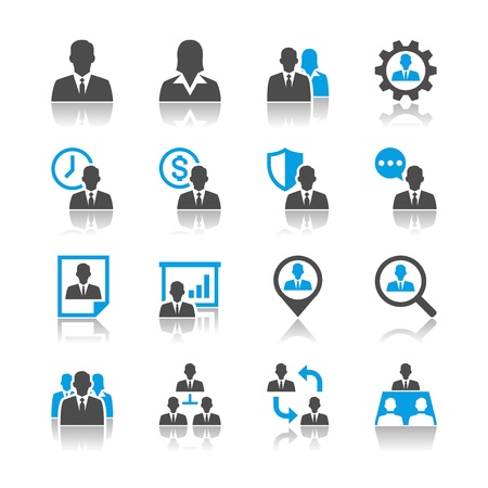 Human resource management iconen - reflectie thema Stock Illustratie