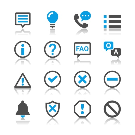 Information and notification icons - reflection theme Vectores