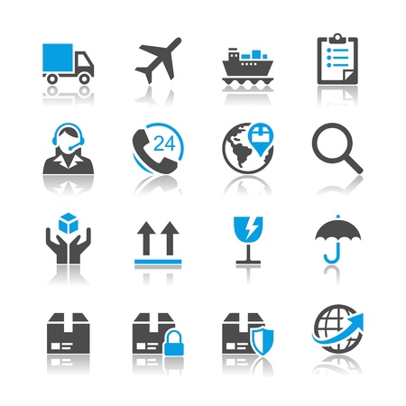 Logistics and shipping icons - reflection theme  イラスト・ベクター素材