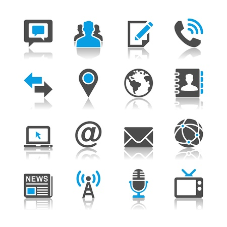 contact book: Media and communication icons - reflection theme