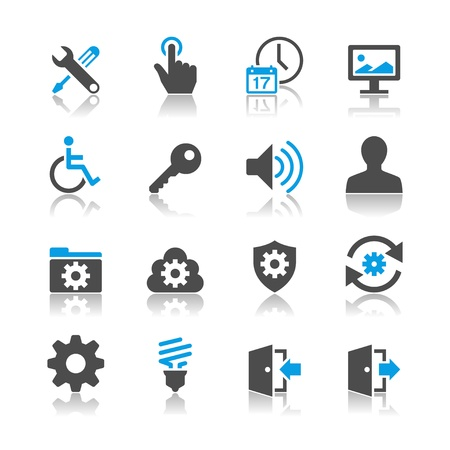 Setting icons - reflection theme Stock Vector - 18915394