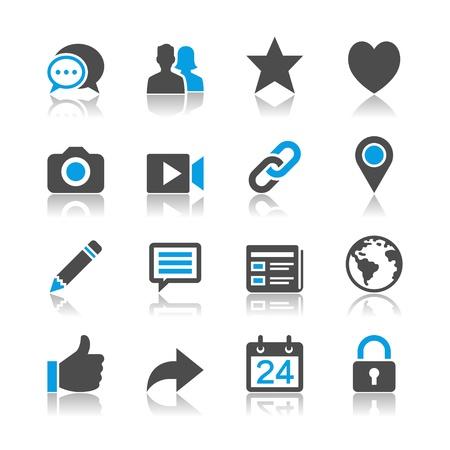 Sociaal netwerk pictogrammen - reflectie thema Stock Illustratie
