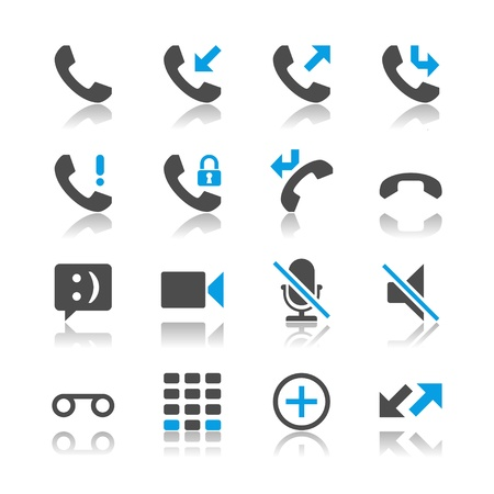 call history: Telephone icons - reflection theme
