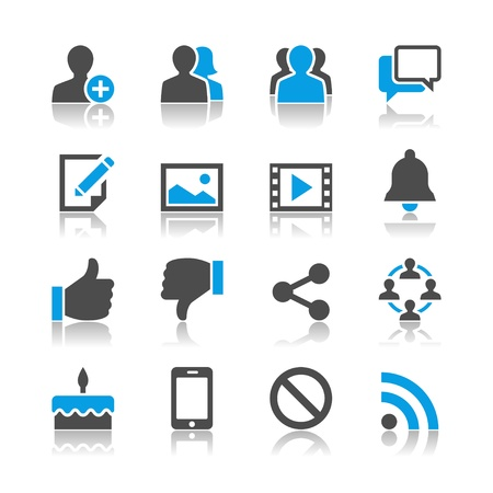 ソーシャル ネットワークのアイコン - 反射のテーマ  イラスト・ベクター素材