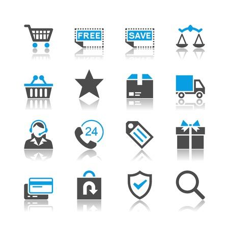 E-commerce iconen - reflectie thema