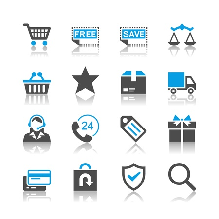 E-commerce icons - reflection theme Stock Vector - 19336650