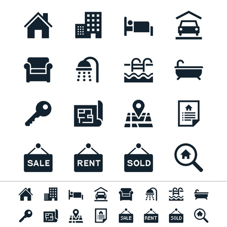 rental: Iconos de las propiedades inmobiliarias Vectores