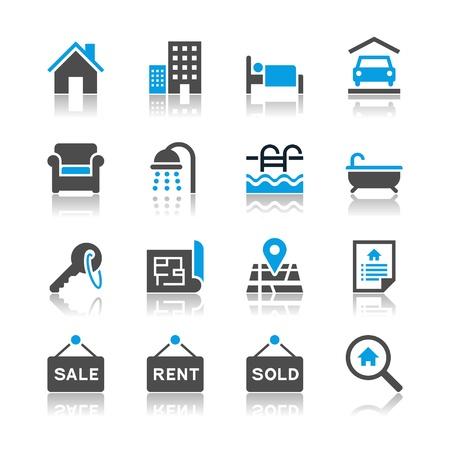 Immobilier ic�nes - th�me de r�flexion Illustration