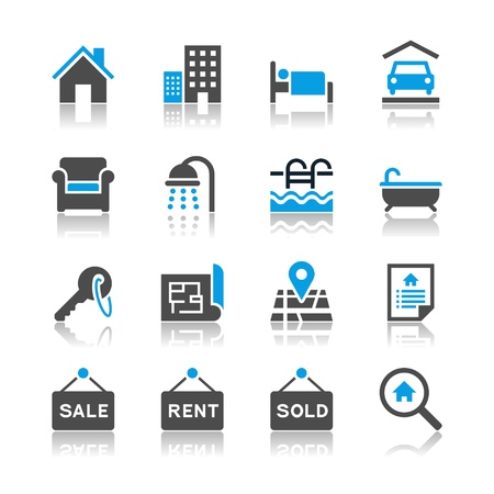 Real estate icons - reflection theme Stock Vector - 19336651