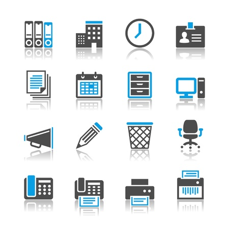 Business and office icons - reflection theme Stock Vector - 19750546