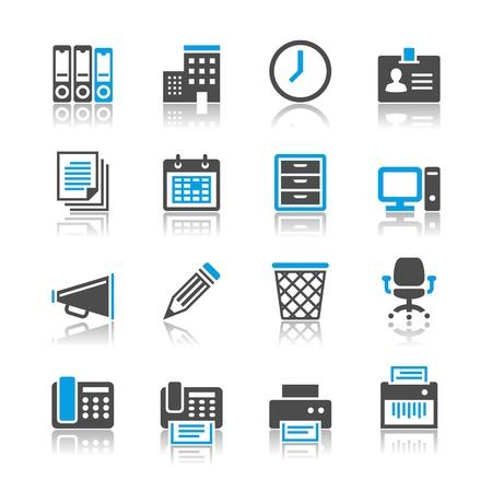 Zakelijk en kantoor iconen - reflectie thema Stock Illustratie