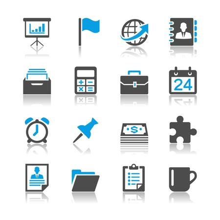 Affari e ufficio icone - tema di riflessione Vettoriali