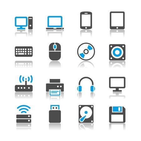 Computer iconen - reflectie thema Stock Illustratie