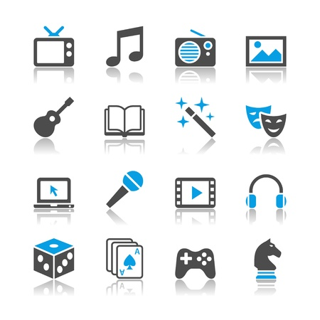 Entertainment icons - reflection theme Vectores