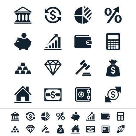 Financiële investeringen pictogrammen Stock Illustratie