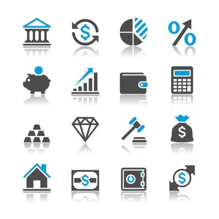 Financiële investering iconen - reflectie thema Vector Illustratie
