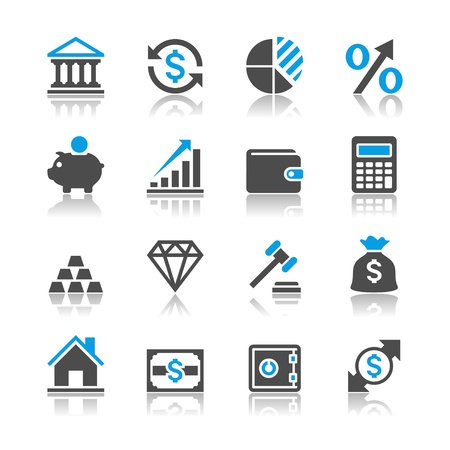 Financial investment icons - reflection theme Stock Vector - 19750533