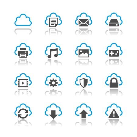 Cloud computing icons reflection theme