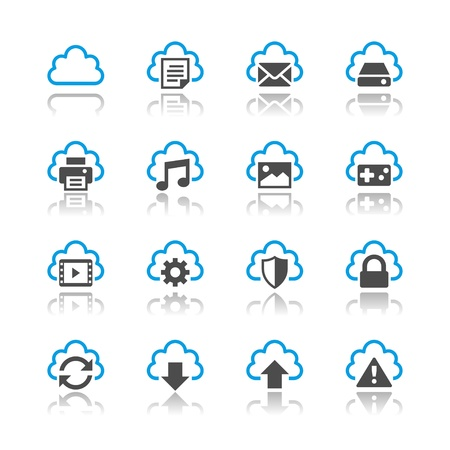 Cloud computing icons reflection theme
